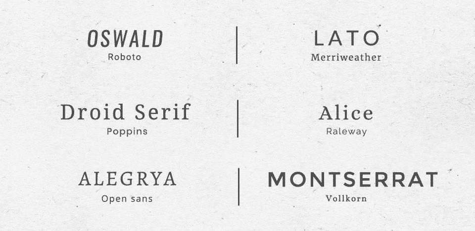 Combinaison typographies